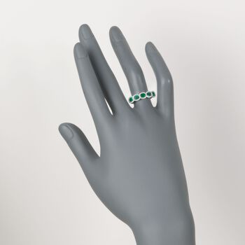 1.10 ct. t.w. Emerald Five-Stone Ring with .20 ct. t.w. Diamonds in 14kt White Gold. Size 7, , default