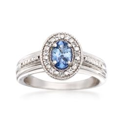.60 Carat Tanzanite and .10 ct. t.w. White Topaz Ring in Sterling Silver, , default