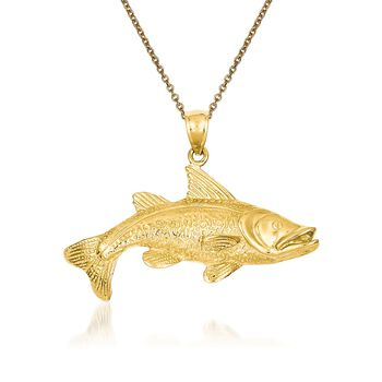 "14kt Yellow Gold Redfish Pendant Necklace. 18"", , default"