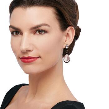 Rose Quartz and 1.00 ct. t.w. Black Spinel Drop Earrings in Sterling Silver. Drop Earrings, , default