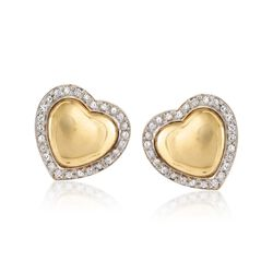 C. 1990 Vintage 1.05 ct. t.w. Diamond Heart Earrings in 18kt Yellow Gold, , default