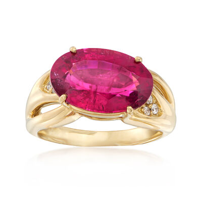 C. 1990 Vintage 5.80 Carat Pink Tourmaline Horizontal Ring with Diamond Accents in 18kt Yellow Gold, , default
