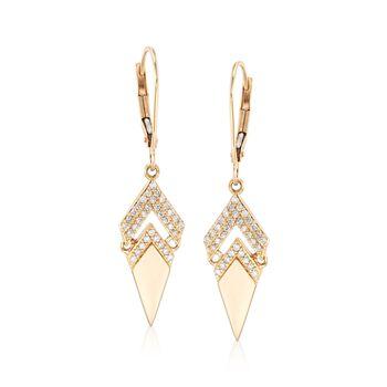 .25 ct. t.w. Diamond Arrow-Shaped Earrings in 14kt Yellow Gold, , default