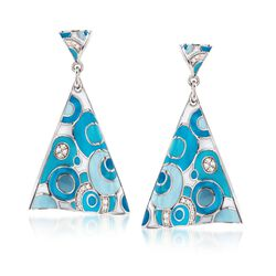 "Belle Etoile ""Groovy"" .25 ct. t.w. CZ and Aqua Enamel Drop Earrings in Sterling Silver, , default"