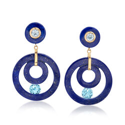 Lapis and 4.30 ct. t.w. Blue Topaz Open-Circle Drop Earrings in 14kt Yellow Gold, , default