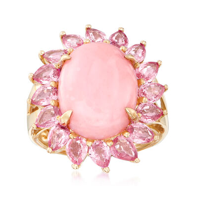 Pink Opal and 2.80 ct. t.w. Pink Sapphire Ring in 14kt Yellow Gold, , default