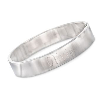 Sterling Silver Personalized Flat Bangle Bracelet, , default