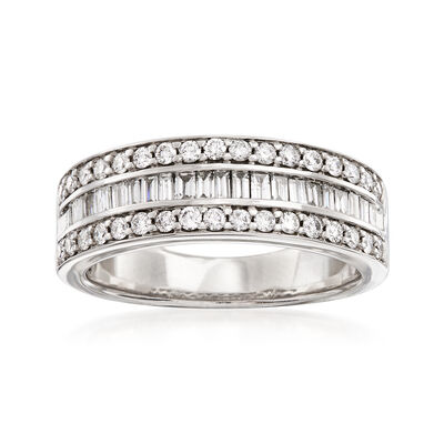 .75 ct. t.w. Round and Baguette Diamond Three-Row Ring in 14kt White Gold