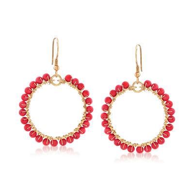 Coral Bead Circle Earrings in Vermeil, , default