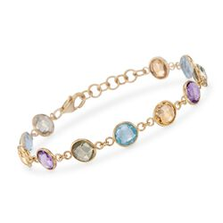 "18.00 ct. t.w. Multi-Stone Bracelet in 14kt Yellow Gold Over Sterling. 7.5"", , default"
