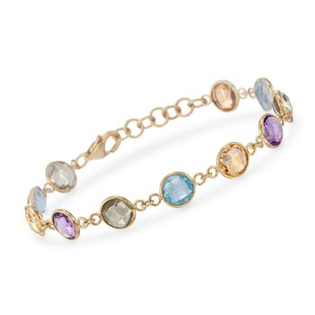 """18.00 ct. t.w. Multi-Stone Bracelet in 14kt Yellow Gold Over Sterling. 7.5"""", , default"""