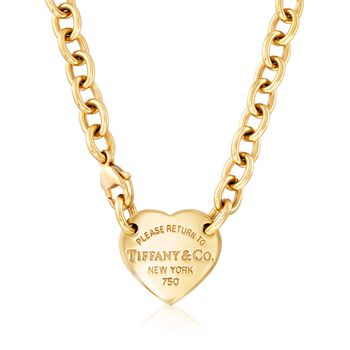 """C. 1990 Vintage Tiffany Jewelry """"Return to Tiffany"""" 18kt Yellow Gold Heart Tag Necklace. 15"""", , default"""