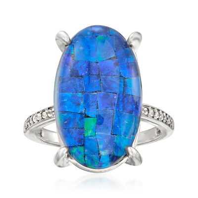 Multi-Gemstone and .80 ct. t.w. White Zircon Triplet Ring in Sterling Silver, , default