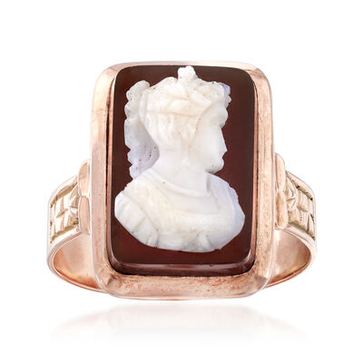 C. 1920 Vintage Agate Cameo Ring in 10kt Rose Gold, , default