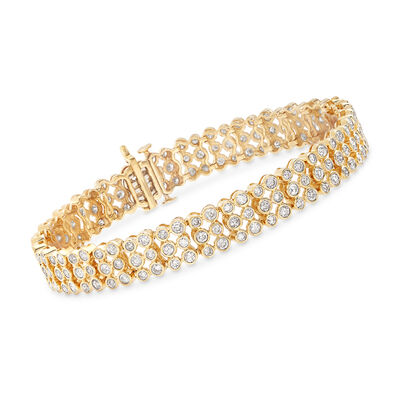 5.00 ct. t.w. Bezel-Set Diamond Three-Row Bracelet in 14kt Yellow Gold, , default