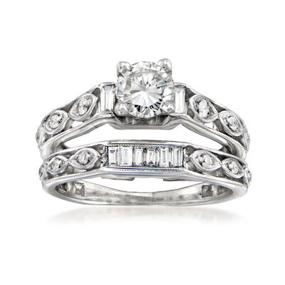 C. 2000. Vintage 1.34 ct. t.w. Diamond Bridal Set: Engagement and Wedding Rings in 18kt White Gold, , default