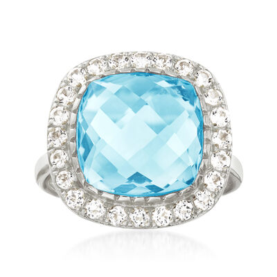 8.00 Carat Sky Blue Topaz and .90 ct. t.w. White Topaz Ring in Sterling Silver