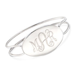 Sterling Silver Monogram Oval ID Bangle Bracelet, , default