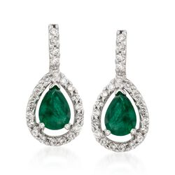"1.30 ct. t.w. Emerald and .45 ct. t.w. Diamond Drop Earrings in 14kt White Gold. 3/4"", , default"
