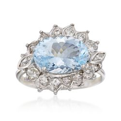 C. 1950 Vintage 3.40 Carat Aquamarine and .35 ct. t.w. Diamond Ring in 14kt White Gold. Size 7.75, , default