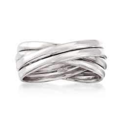 Sterling Silver Multi-Band Crisscross Ring, , default