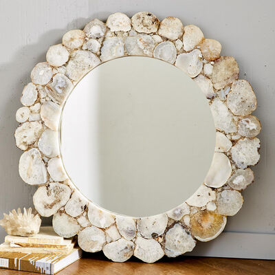 Gray and White Agate Round Wall Mirror, , default