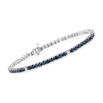 "6.25 ct. t.w. Sapphire and .40 ct. t.w. Diamond Tennis Bracelet in 14kt White Gold. 7"", , default"