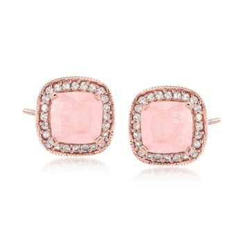 Rose Quartz and .38 ct. t.w. White Topaz Stud Earrings in 18kt Rose Gold Over Sterling, , default