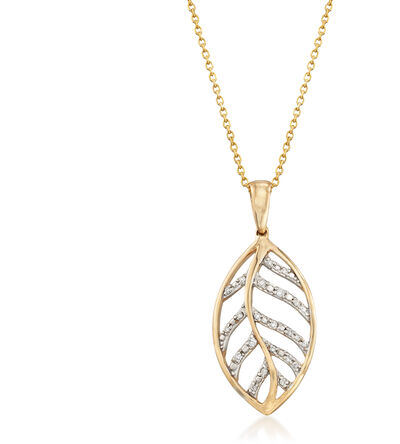 14kt Yellow Gold Openwork Leaf Pendant Necklace with Diamond Accents, , default