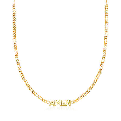 """Amen"" Adjustable Curb-Link Necklace in 14kt Yellow Gold, , default"