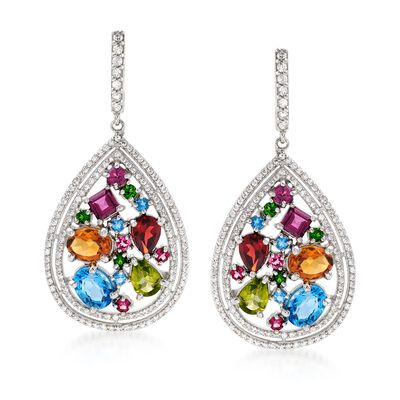 13.78 ct. t.w. Multi-Stone Teardrop Earrings in Sterling Silver