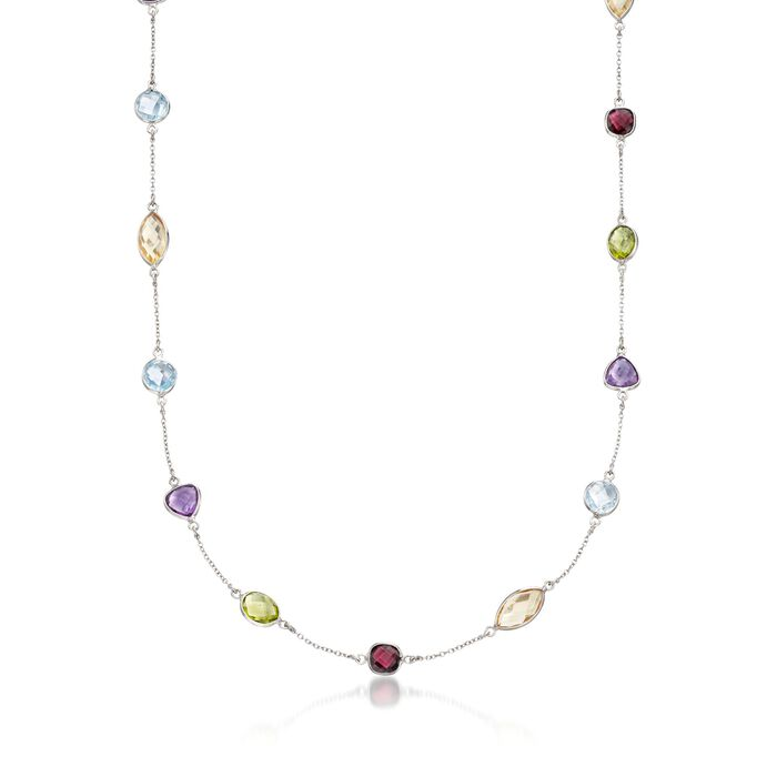 14.82 ct. t.w. Multi-Stone Station Necklace in Sterling Silver, , default