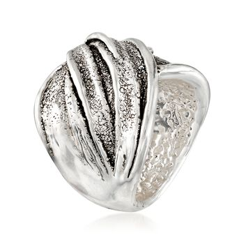 Sterling Silver Textured and Polished Twist Ring, , default