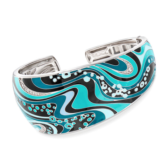 "Belle Etoile ""Calypso"" Turquoise and Multicolored Enamel Cuff Bracelet with .10 ct. t.w. CZ in Sterling Silver. 7"", , default"