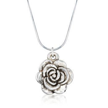 """Sterling Silver Rose Necklace. 18"""", , default"""