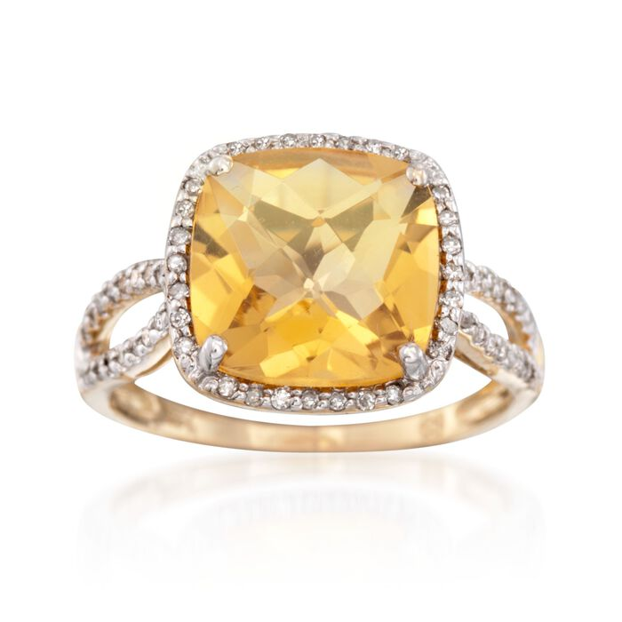 3.50 Carat Citrine and .19 ct. t.w. Diamond Ring in 14kt Yellow Gold, , default