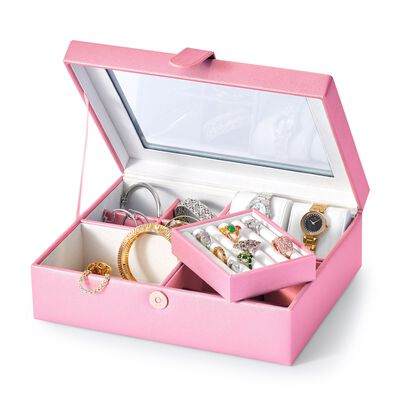Pink Faux Leather Perfect Luxury Jewelry Box, , default