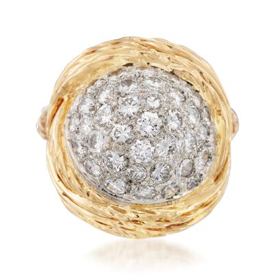 C. 1990 Vintage 3.00 ct. t.w. Pave Diamond Ring in Platinum and 14kt Yellow Gold, , default
