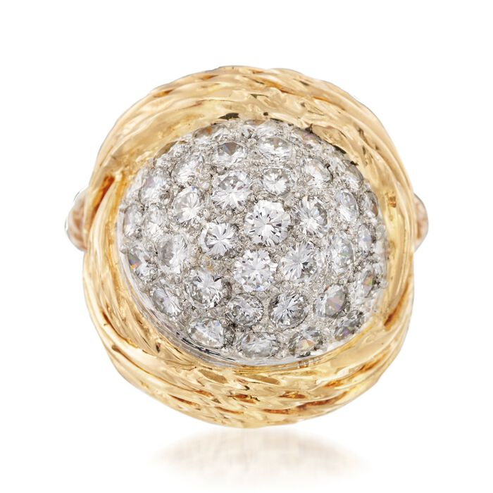C. 1990 Vintage 3.00 ct. t.w. Pave Diamond Ring in Platinum and 14kt Yellow Gold. Size 5