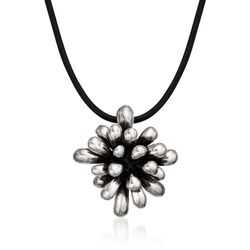 "Zina Sterling Silver ""Fireworks"" Pendant Necklace on Leather Cord. 18"", , default"