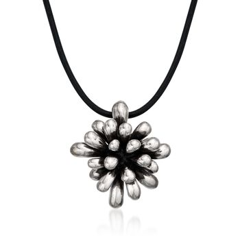 """Zina Sterling Silver """"Fireworks"""" Pendant Necklace on Leather Cord. 18"""", , default"""