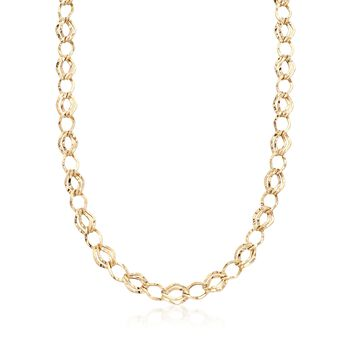 """14kt Yellow Gold Double-Oval Link Necklace. 18"""", , default"""