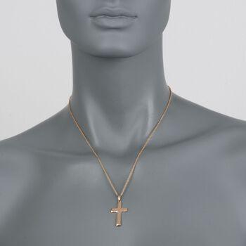 Men's 14kt Yellow Gold Beveled Cross Pendant