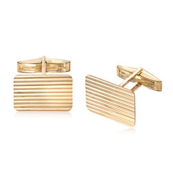 14kt Yellow Gold Ribbed Rectangular Cuff Links, , default