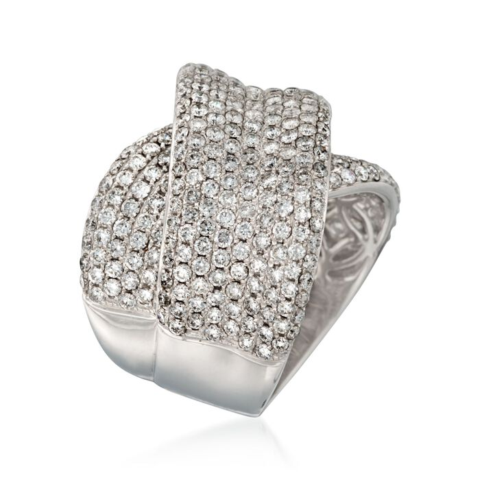 3.93 ct. t.w. Pave Diamond Crisscross Ring in 18kt White Gold