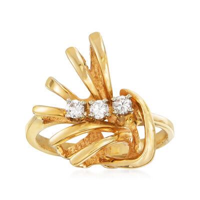 C. 1980 Vintage .15 ct. t.w. Diamond Fan Ring in 14kt Yellow Gold, , default