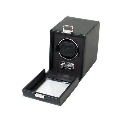 """Heritage"" Black Faux Leather Single Watch Winder with Cover by Wolf Designs , , default"