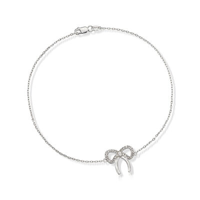 .10 ct. t.w. Diamond Bow Anklet in Sterling Silver, , default
