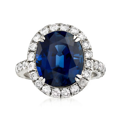 C. 1980 Vintage 7.48 Carat Sapphire and 1.60 ct. t.w. Diamond Ring in Platinum