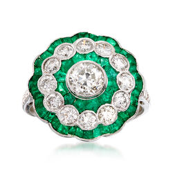 C. 1990 Vintage 1.66 ct. t.w. Emerald and 1.50 ct. t.w. Diamond Cluster Ring in 18kt White Gold. Size 6.75, , default